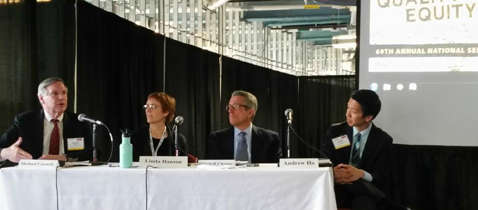 Panelists at EWA's National Seminar in Boston on May 2. From left: Michael Casserly, Linda Hanson, Mitchell Chester, and Andrew Ho. (Shirley Goh for EWA)