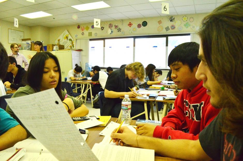 Advanced math students solve a problem set at Glendale High School in Glendale, Calif. (Photo credit: Mikhail Zinshteyn)