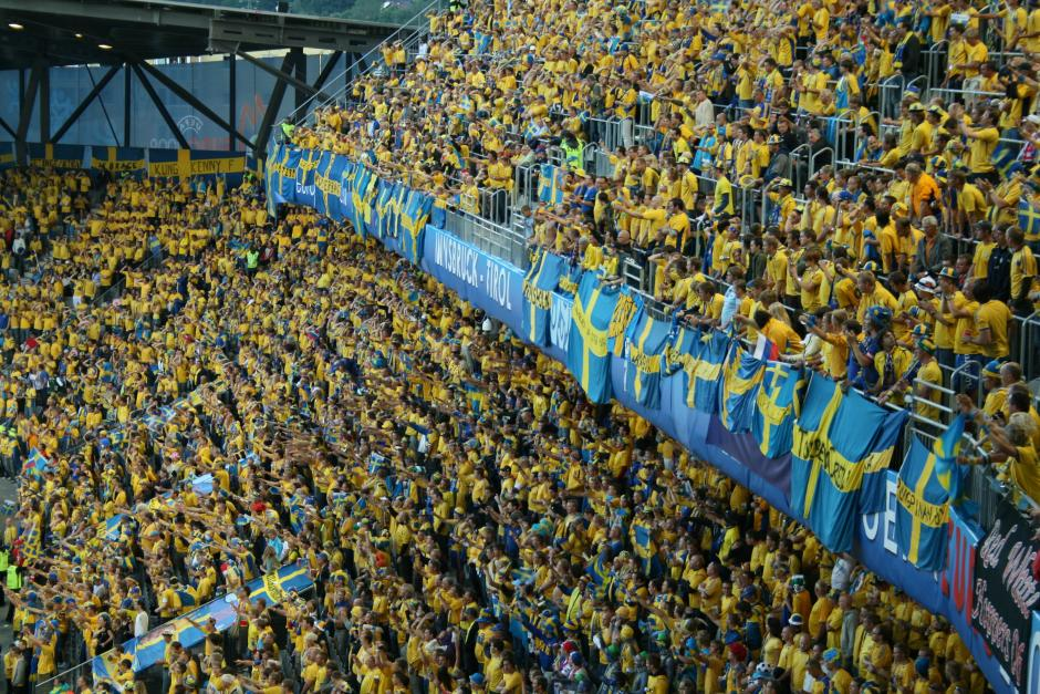Some of these Swedish soccer fans likely went to a school that's part of Sweden's voucher system. (Source: Wikimedia)