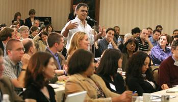 EWA member Greg Toppo of USA Today, center, poses a question to U.S. Education Secretary Margaret Spellings at EWA's 2007 National Seminar at the Downtown Marriott in Los Angeles. California Gov. Arnold Schwarzenegger also spoke at the meeting.