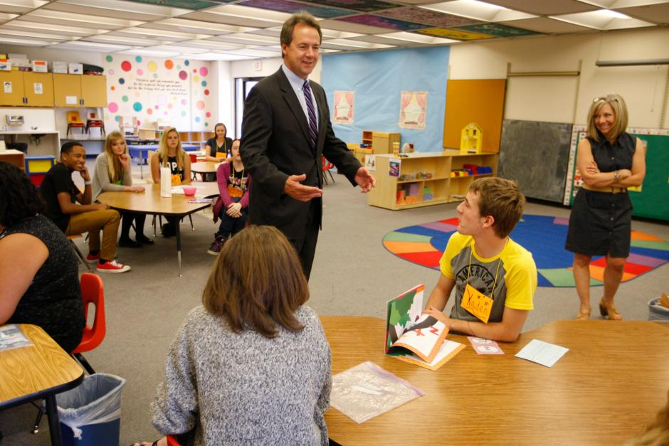 Montana Gov. Steve Bullock talks with students at the Billings Career Center in August 2016. The state's gubernatorial race is being closely watched by education advocates. (Casey Page/The Billings Gazette)