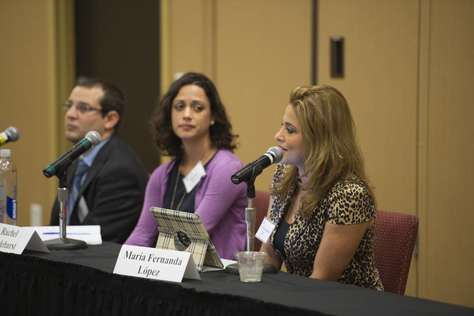 Maria Fernanda Lopez of Univision talks about her experiences covering the topic of bilingual education. She was joined on the panel by Nelson Flores of the University of Pennsylvania, left, and Rachel Hazlehurst of Camino Nuevo Charter Academy. 