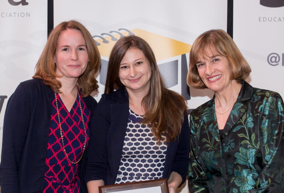 Cara Fitzpatrick and Lisa Gartner, education reporters for the Tampa Bay Times, with Caroline Hendrie, executive director for EWA (Photo credit: Lili Boxer for EWA)