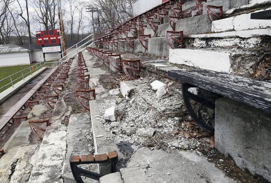 image of bleachers at Aliquippa Junior-Senior High School's football field