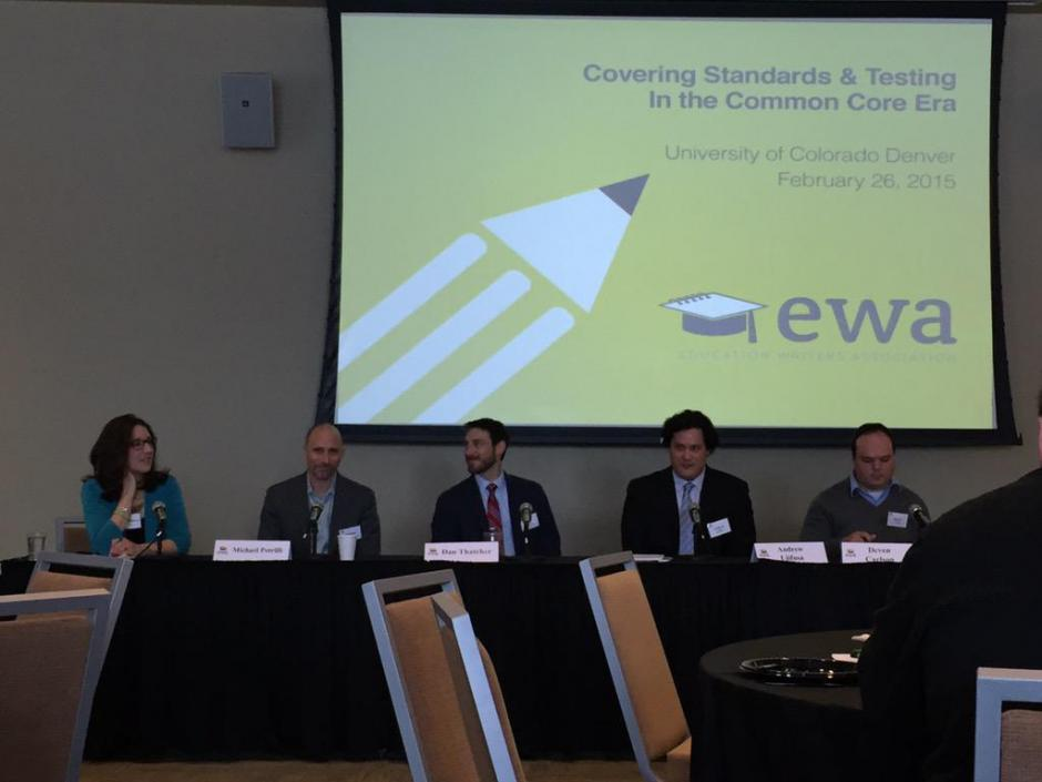 Panelists and moderator Andrew Ujifusa of Education Week discuss the political situation for common standards and testing at an EWA seminar on Feb. 26.