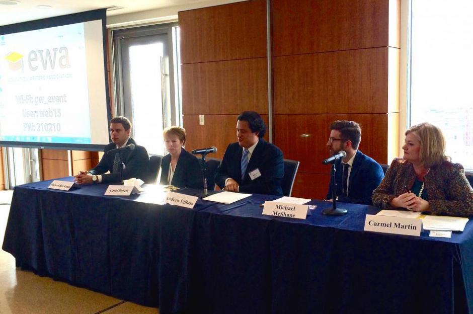 EWA seminar at George Washington University on Dec. 15, 2014. Left to right: Michael Brickman (Fordham Institute);  Principal Carol Burris; Andrew Ujifusa (Ed Week); Michael McShane (AEI); Carmel Martin (CAP). (EWA/Emily Richmond)