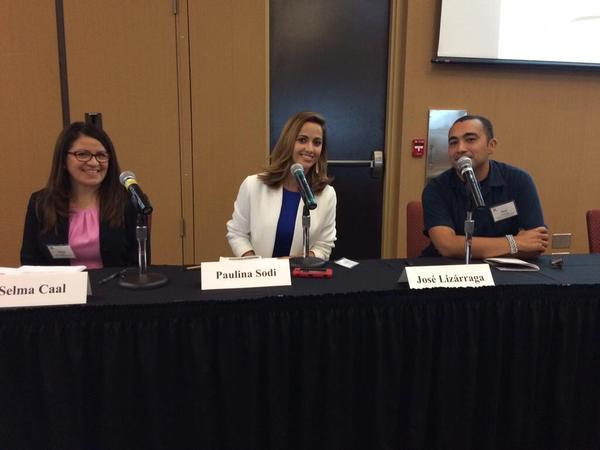 Selma Caal of Child Trends Hispanic Institute, Paulina Sodi of Telemundo Houston, and José Lizárraga of the University of California, Berkeley participated in a panel discussion on educating young Latinos during the 2015 Spanish-Language Media Convening in Orlando on Sept. 17. Source: Twitter/ via @PaulinaSodi