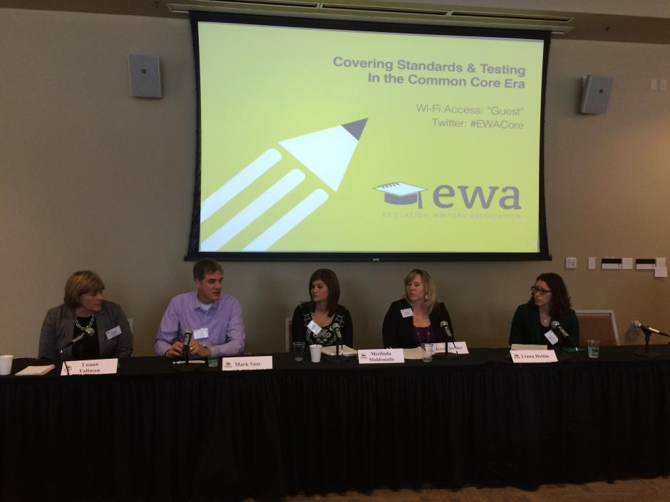 From left: Educators Luann Tallman, Mark Sass, Merlinda Moldanado and Kristy Straley talk with moderator Liana Heiten of Education Week at the University of Colorado Boulder on February 26, 2015. (EWA/Emily Richmond)