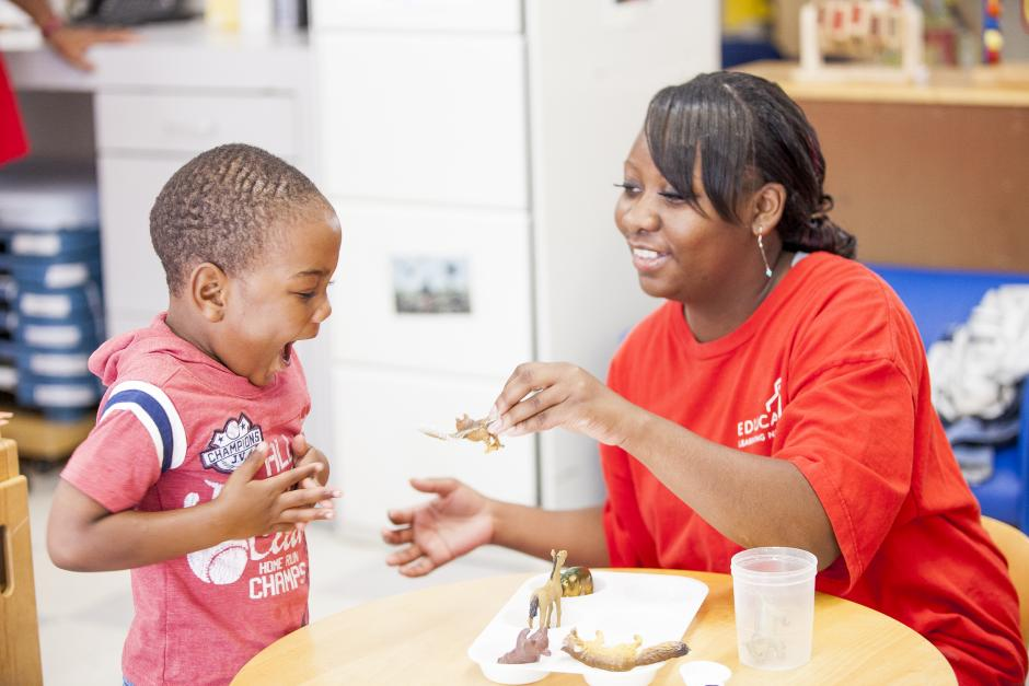 A preschooler and his teacher at the Educare Center in Chicago. (Photo credit: The Ounce of Prevention Fund)