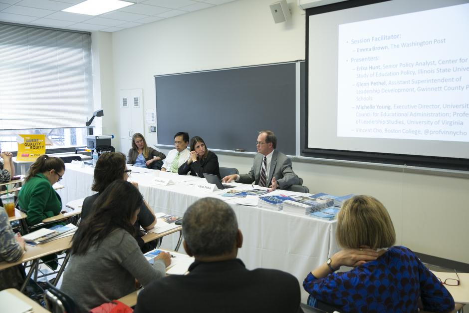 (From left to right) Moderator Emma Brown of The Washington Post moderates a panel on principal leadership with experts Vincent Cho, Erika Hunt, Glenn Pethelfar at Boston University in May 2016. (Lilli Boxer for EWA)