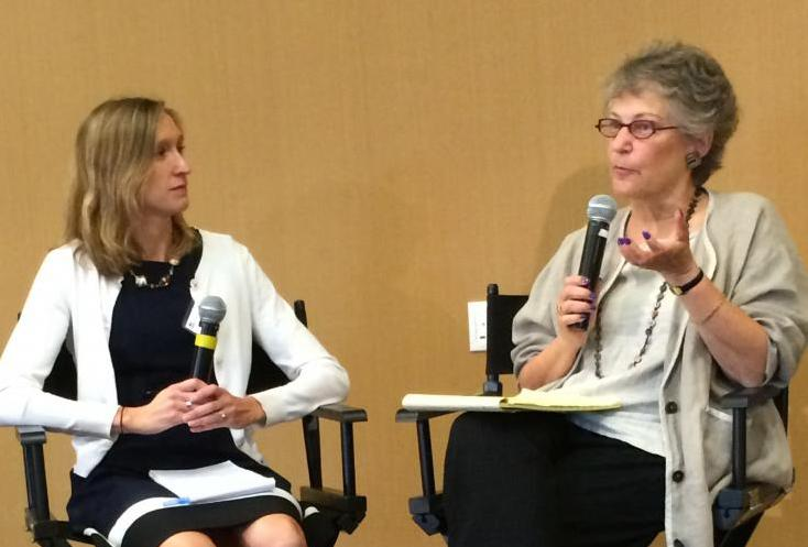 Reporter Kelly FIeld, left, and Jamienne Studley, Deputy Under Secretary, U.S. Department of Education, at Valencia Community College in Orlando, Florida in September 2015. (EWA/Emily Richmond)