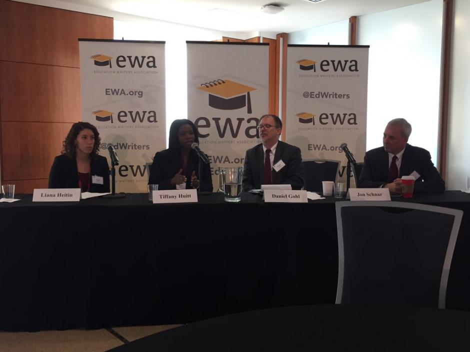 Liana Heitin of Education Week, left, moderates a panel discussion on the OECD test for schools. She was joined by speakers Tiffany Huitt of the School of Science & Engineering in Dallas, Daniel Gohl of Broward County Schools in Florida, and John Schnur of America Achieves.