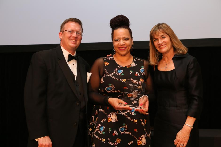 (Left to Right) Scott Elliott, EWA President; Nikole Hannah-Jones; Caroline Hendrie, EWA Executive Director