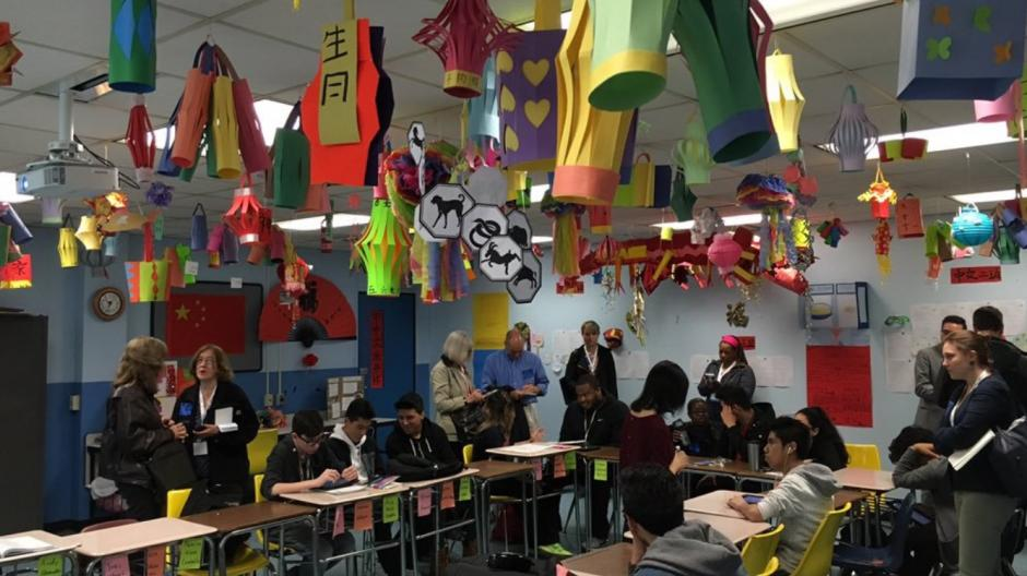 EWA journalist members talk with students in a Mandarin Chinese language class at Revere High School near Boston, Mass. in May, 2016. (Emily Richmond/EWA)