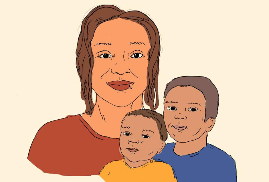 Illustration of Mother and Children by Janelle Retka