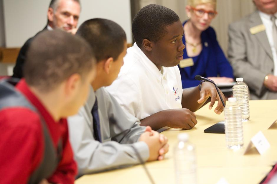 Students discuss discipline during a My Brother's Keeper roundtable with U.S. Secretary of Education Arne Duncan in Austin, Texas in July. Source: Flickr/U.S. Department of Education (CC BY 2.0)