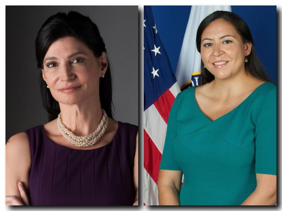 National Education Association President Lily Eskelsen Garcia, left, and White House education executive Alejandra Ceja, right, participated in an online discussion of Latino education Monday.