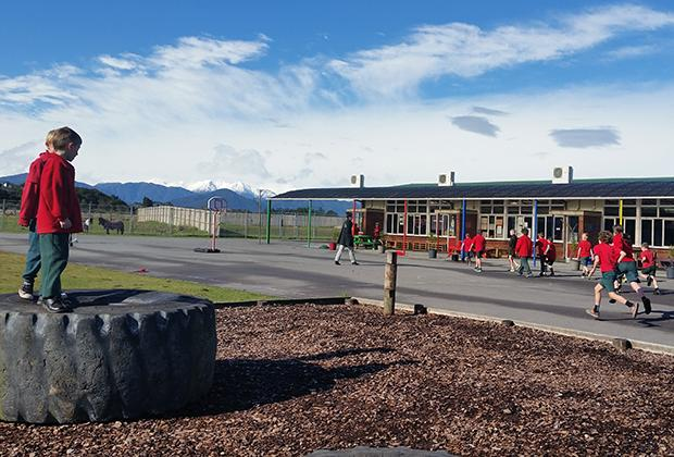 photo of children during recess at Hokitika Primary School, New Zealand, 2017