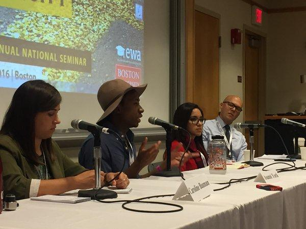 Students from the University of Missouri, Princeton University, and the University of Illinois at Chicago speak on a panel at EWA's 69th National Seminar in May. They were joined by moderator Collin Binkley, right, of the Associated Press. Source: Natalie Gross/ EWA