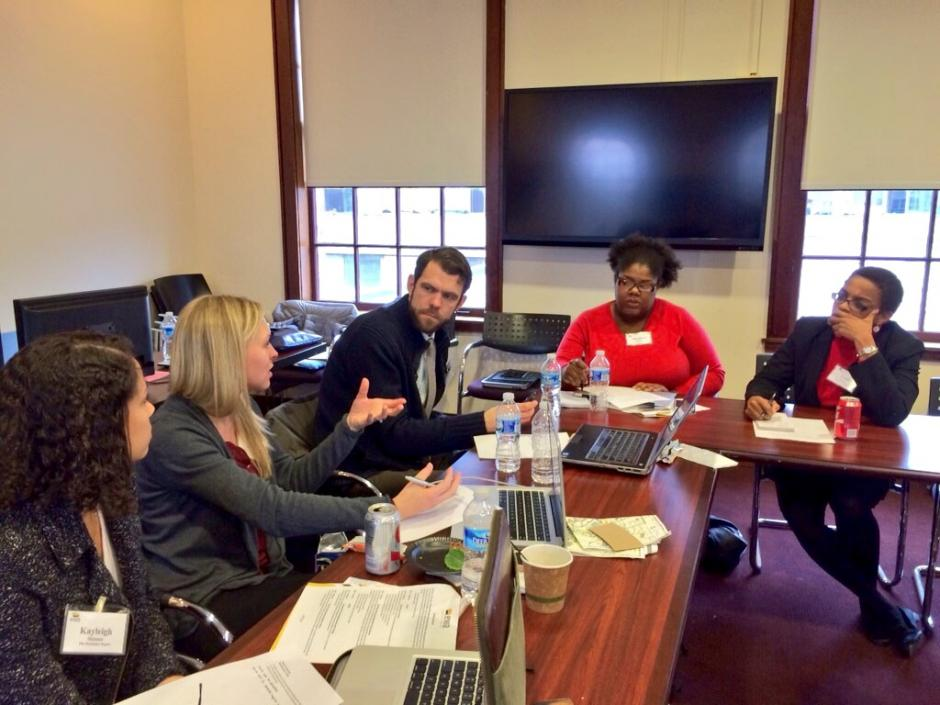 EWA members brainstorm story ideas at the University of North Carolina, Chapel Hill School of Journalism on Jan. 12, 2015. (EWA/Emily Richmond)