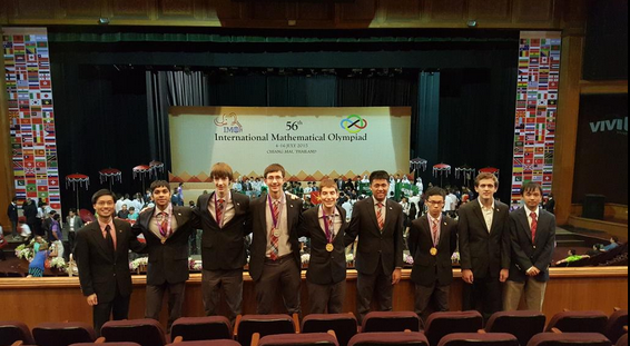 The winning U.S. team celebrates its victory at the International Mathematics Olympiad, held earlier this month in Thailand. (Twitter/Po-Shen Loh)