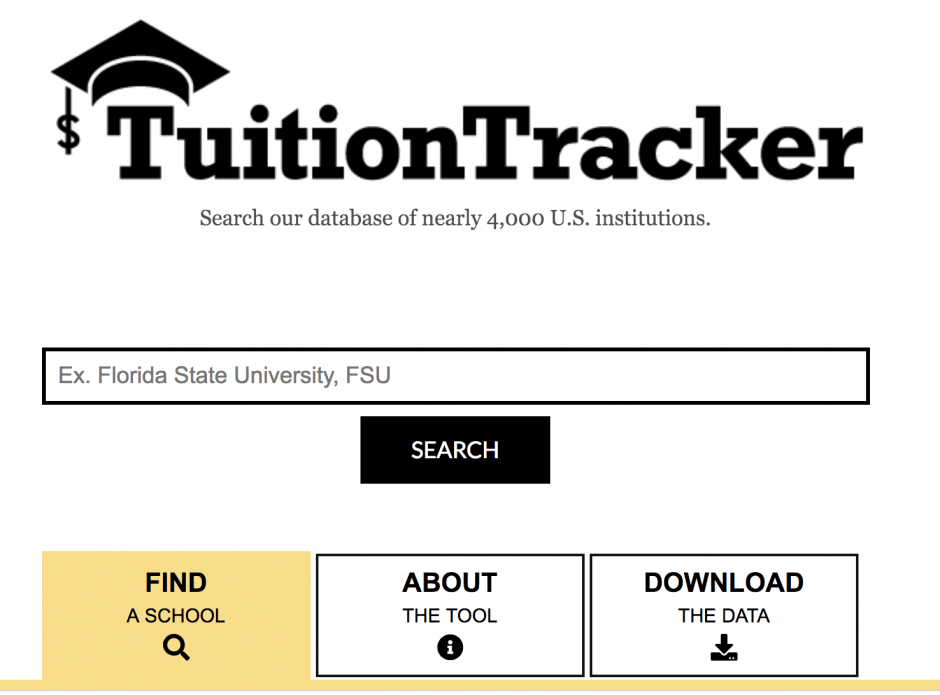 image of the main page of the tuition tracker website