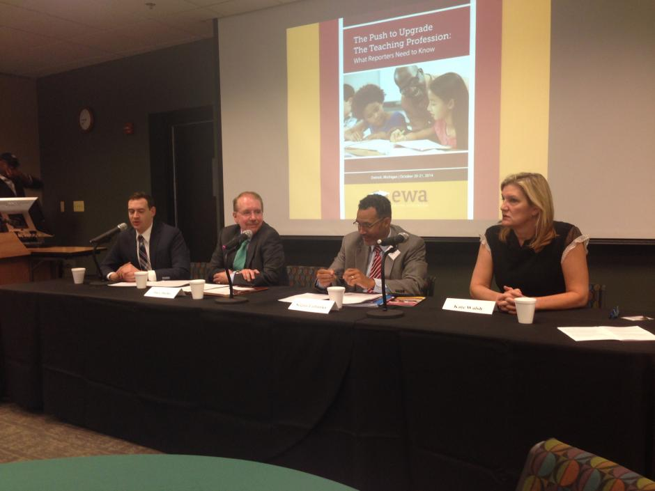 EWA seminar panel on teacher college accountability, Oct. 21, 2014, Detroit. From left: Stephen Sawchuk, Education Week; Jim Cibulka, CAEP; Segun Eubanks, NEA; Kate Walsh, NCTQ. (NEA Media)