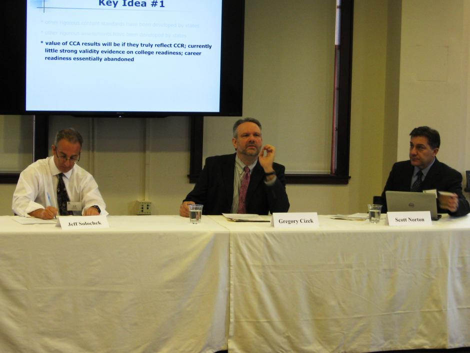 Jeffrey Solochek of the Tampa Bay Times (far left) moderates a conversation with UNC Prof. Greg Cizek (center) and Scott Norton of the Council for Chief State School Officers. (EWA)