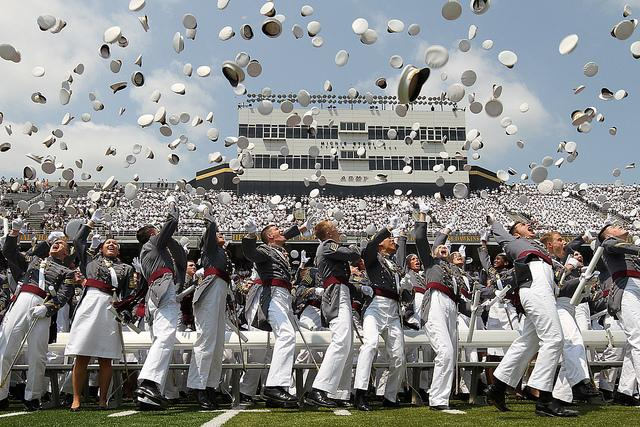 Cadets celebrate graduation at West Point. A USA Today investigation of  congressional influence over the nomination process at elite military academies was one of the year's most memorable education stories. Flickr/U.S. Army (Creative Commons)