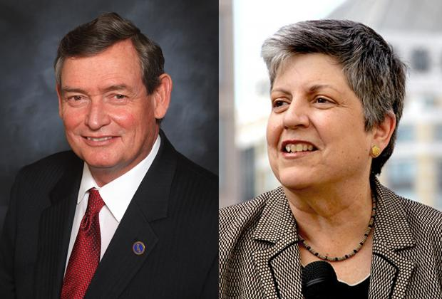 images of Timothy White and Janet Napolitano